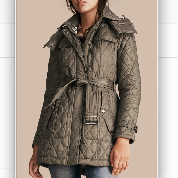 Burberry Jackets Coats Finsbridge Quilted Long Coat Mink Grey